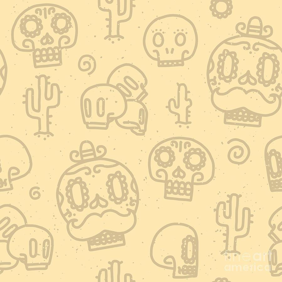 De Digital Art - Sugar Skulls Sand Seamless Vector by Dmitriylo