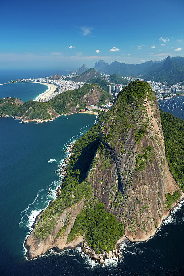 Aerial Photograph - Sugarloaf Mountain (pao De Acucar by David Wall