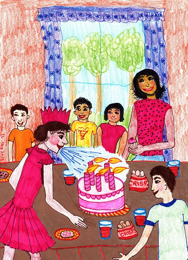 Nursery Rhyme Drawing - Sukey Blow The Candles Out by Sushila Burgess