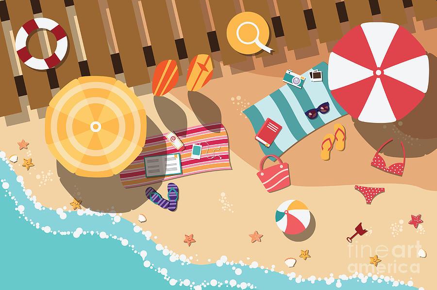 Parasol Digital Art - Summer Beach In Flat Design, Sea Side by Bluelela