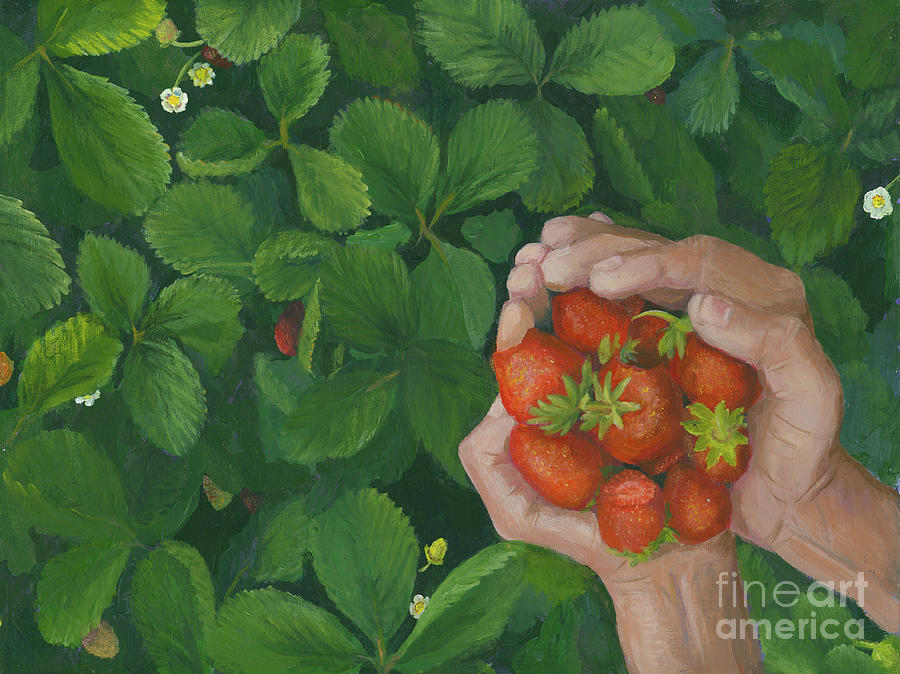 Strawberries Painting - Summer Bounty by Pam Fries