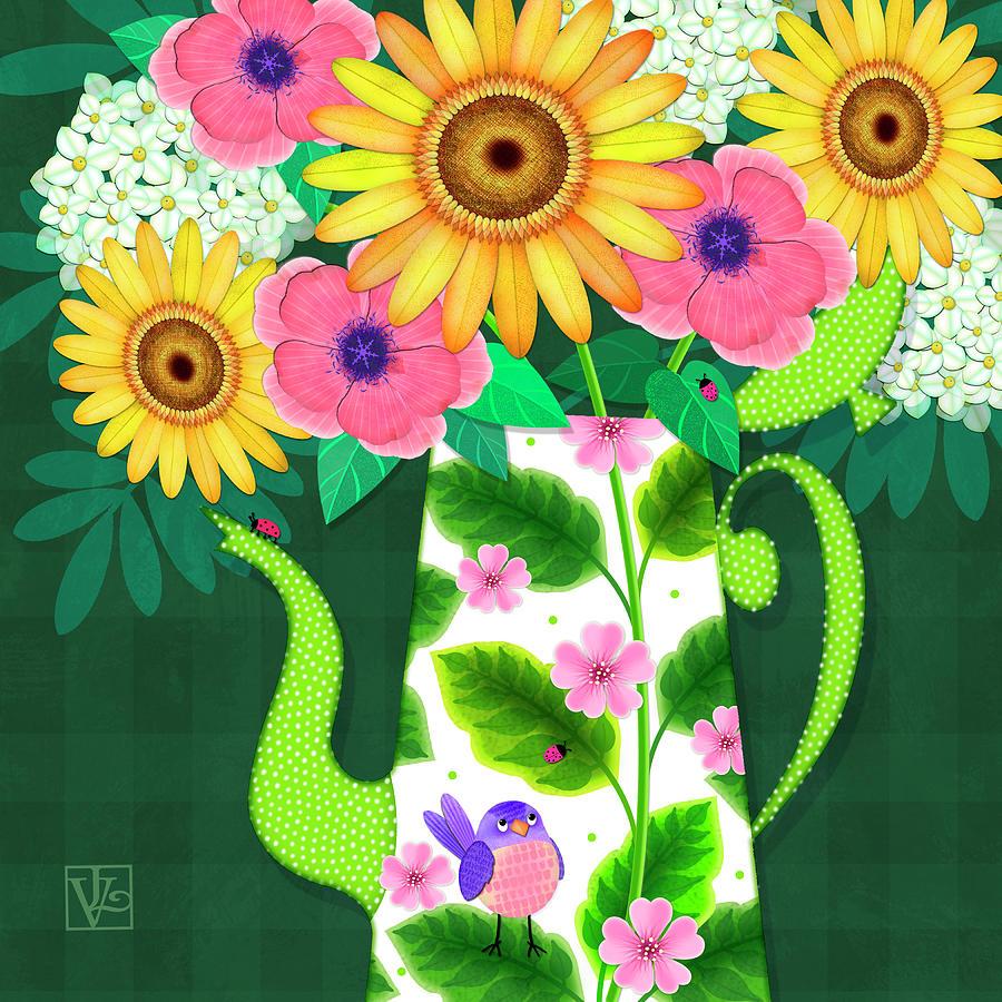 Summer Flowers in Coffee Pot by Valerie Drake Lesiak