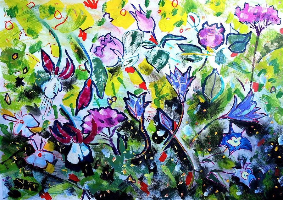 Summer flowers roses hydrangea lobelia fuscia by Mike Jory