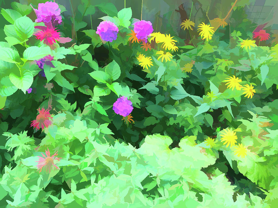 Summer Garden Painterly by Aimee L Maher ALM GALLERY