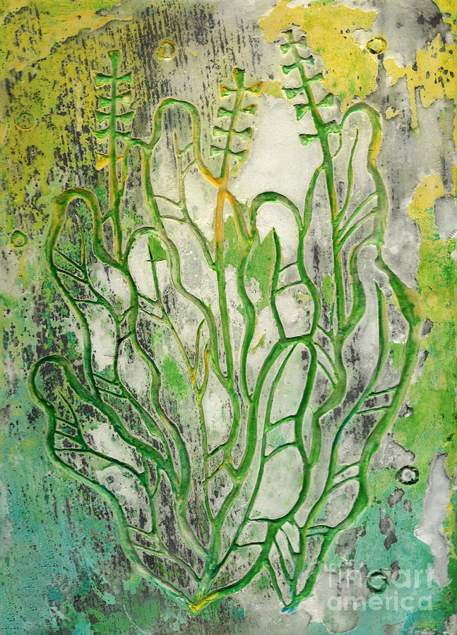 Contemporary Floral Relief - Summer Herbs, Abstract Floral, Stucco Carving by Julia Khoroshikh