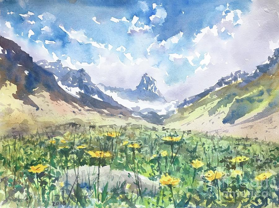 summer in the Alps Painting by Dieter Wystemp