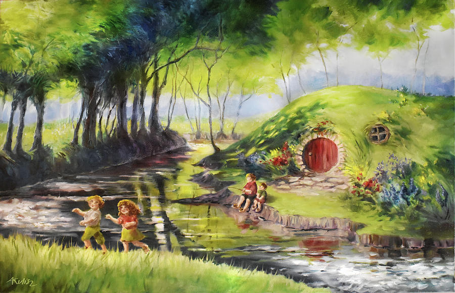 Hobbits Painting - Summer in the Shire by Anna Kulisz