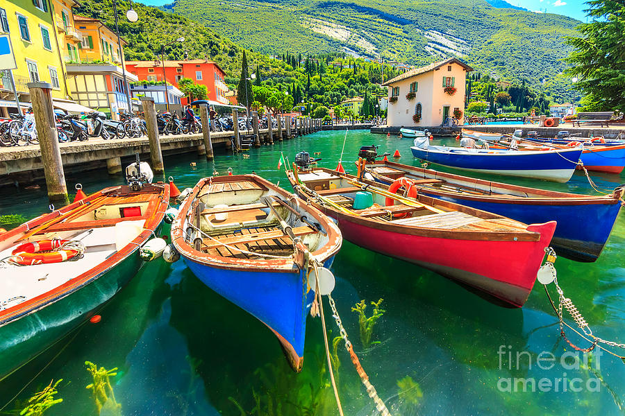 Harbor Photograph - Summer Landscape And Wooden Boats,lake by Gaspar Janos