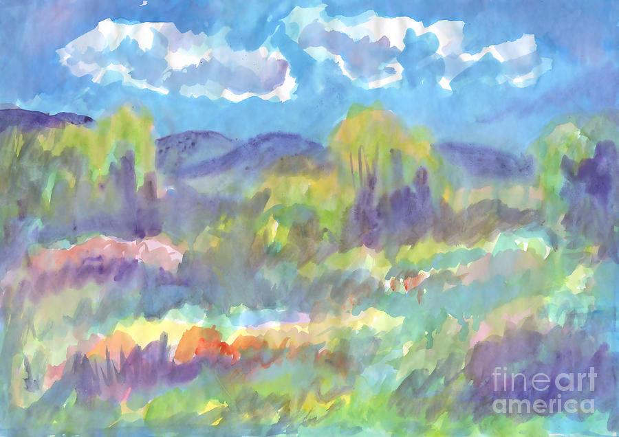 Summer landscape, flowering meadow on summer day. by Irina Dobrotsvet
