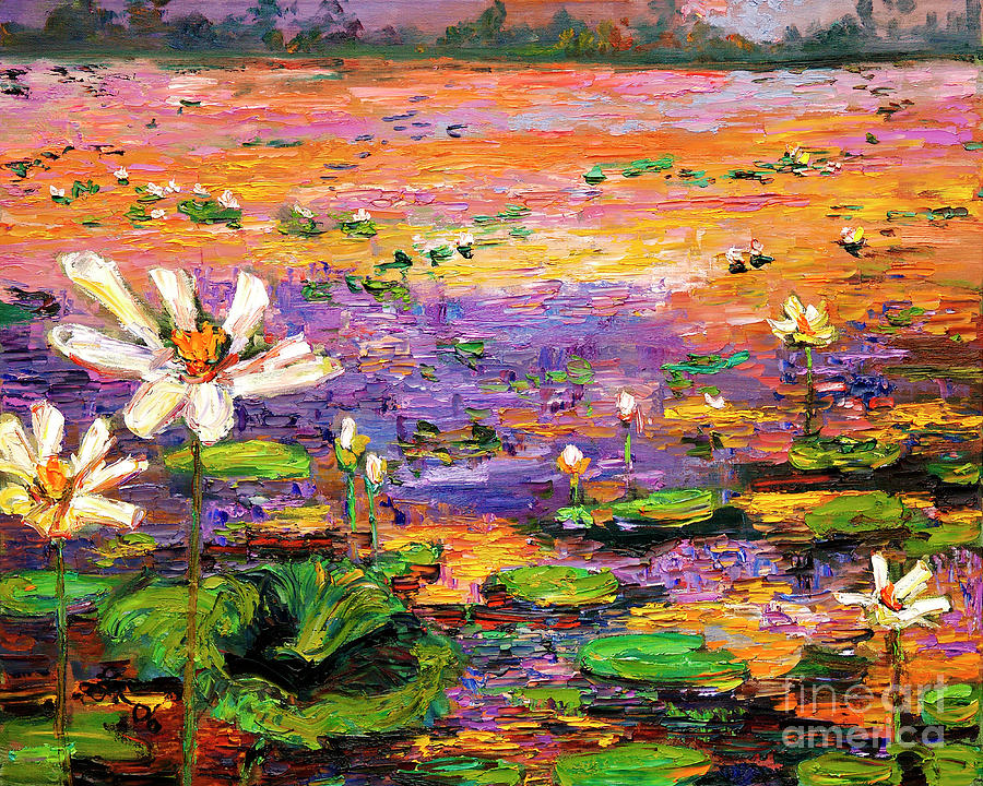 Summer lotus Pond impressionism  by Ginette Callaway