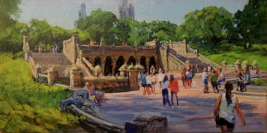 Central Park Painting - Summer Morning on Bethesda Terrace by Peter Salwen