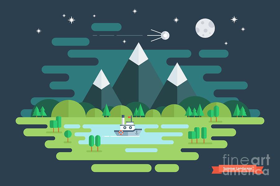 Ecosystem Digital Art - Summer Night Landscape. Nature by Finevector