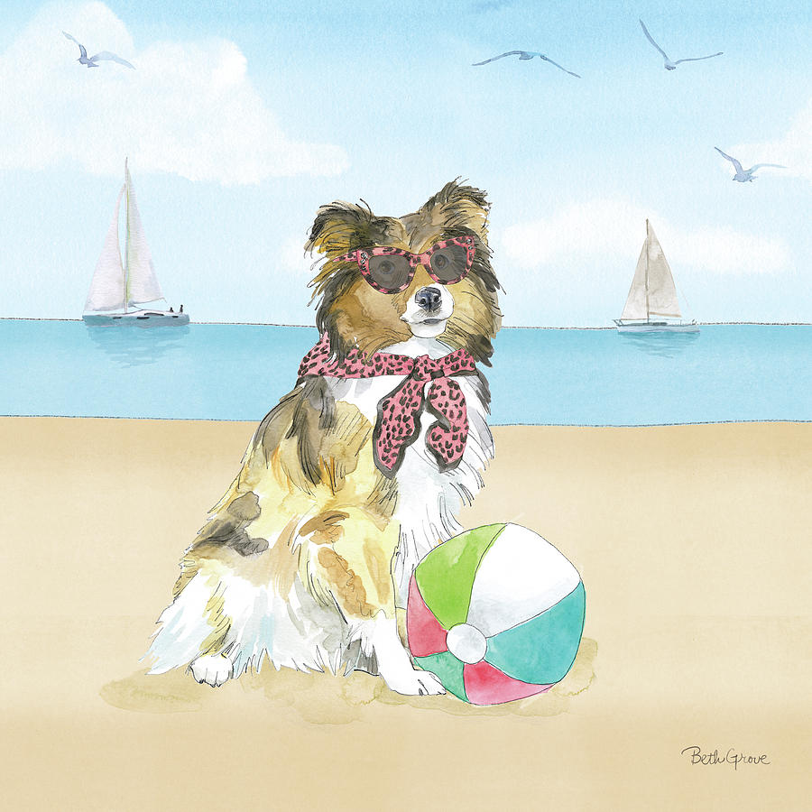 Animals Painting - Summer Paws V No Words by Beth Grove