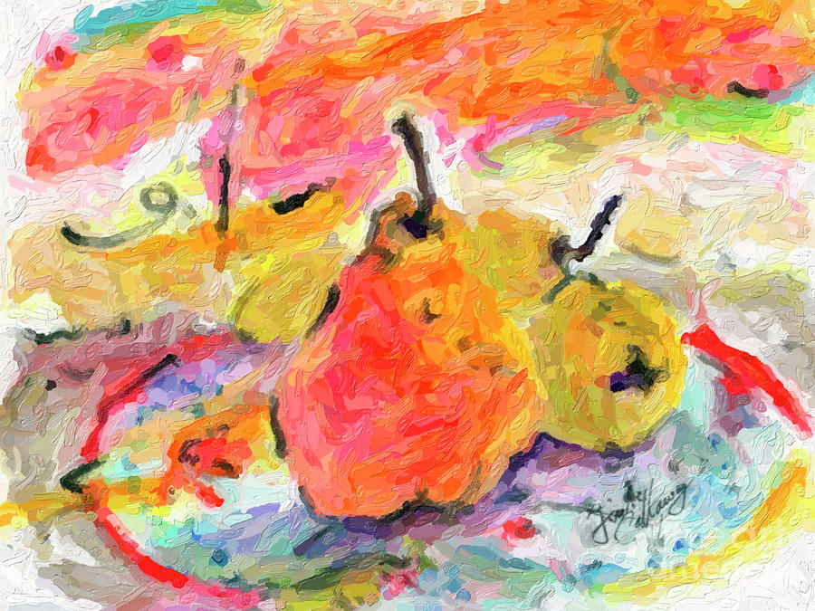 Summer Pears Fruit Art Digital Impressionism by Ginette Callaway
