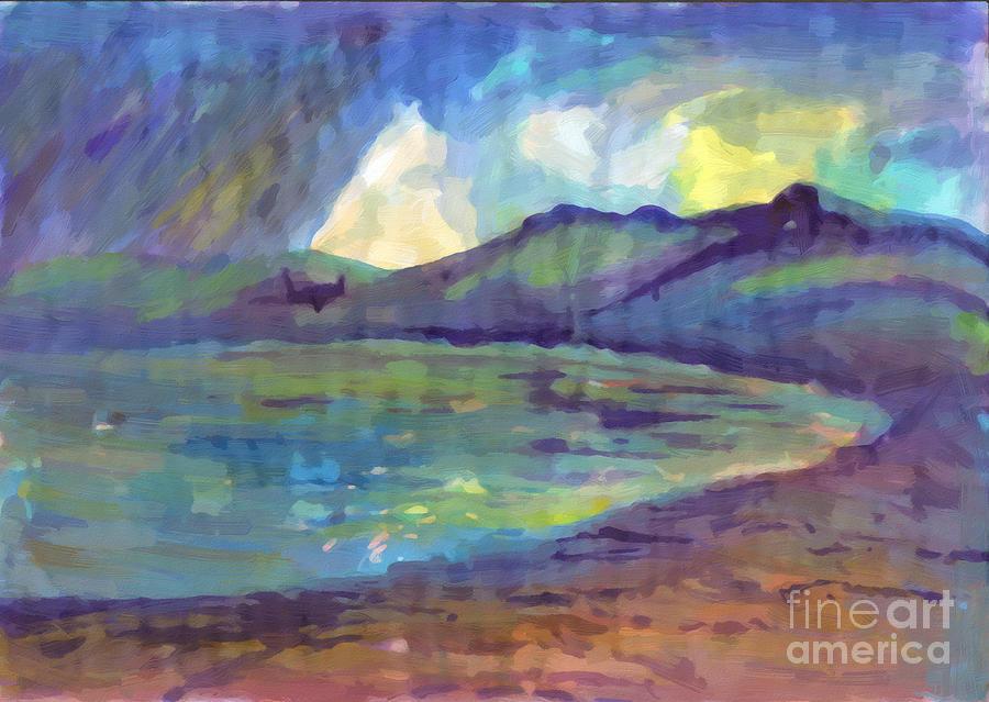 Summer rain on the lake. Oil painting by Irina Dobrotsvet