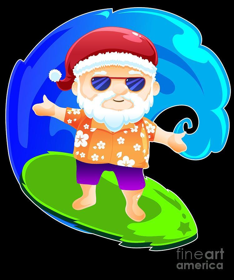 Christmas In July Santa Clipart.Summer Santa Surf Christmas In July