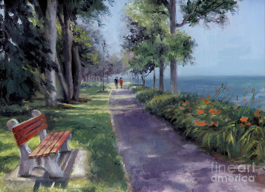 Ohio Painting - Summer Stroll at Lakside by Terri  Meyer