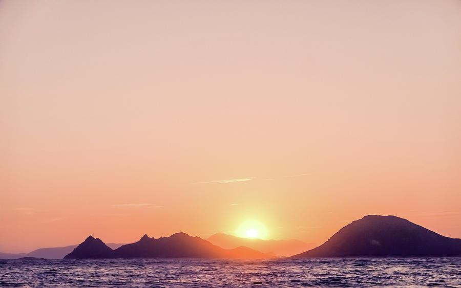Summer Sunset at the Mediterranean Sea Coast by Anne Leven