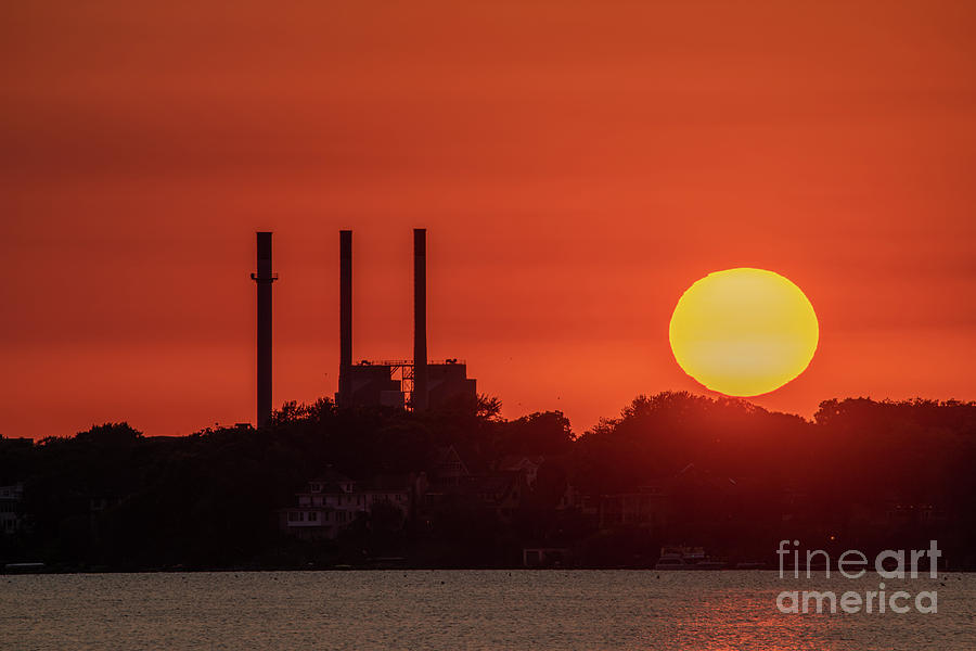 Summer Sunset by the Smokestacks by Jackie Johnson