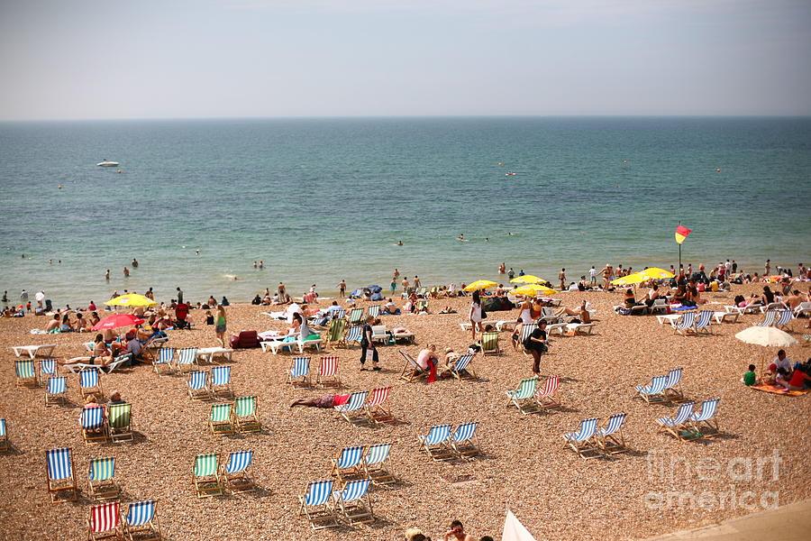 Oceanfront Photograph - Summertime Beach Near Ocean Crowded by N K