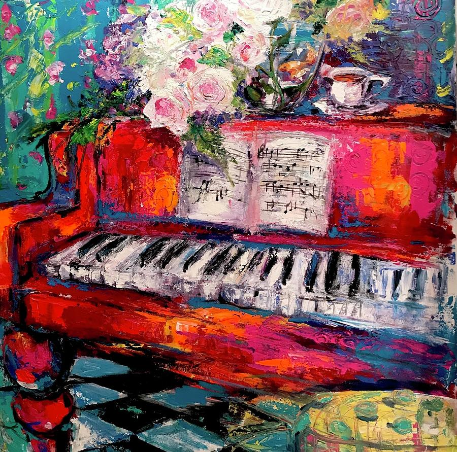 Piano Painting - Summertime by Heather Roddy