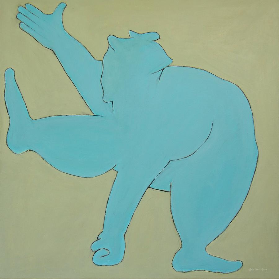 Sumo Wrestler In Blue Painting