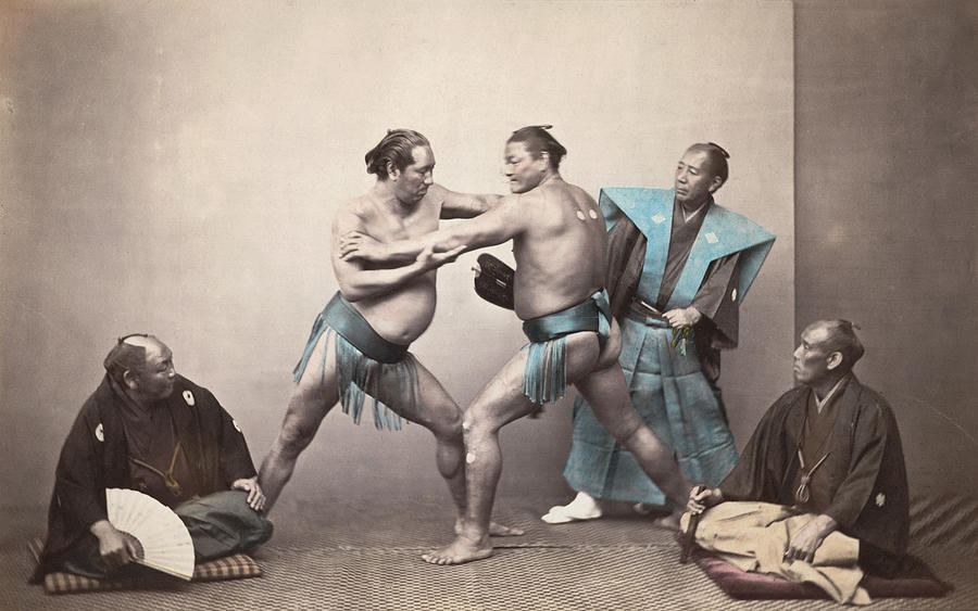 Sumo Wrestlers Photograph by Felice Beato