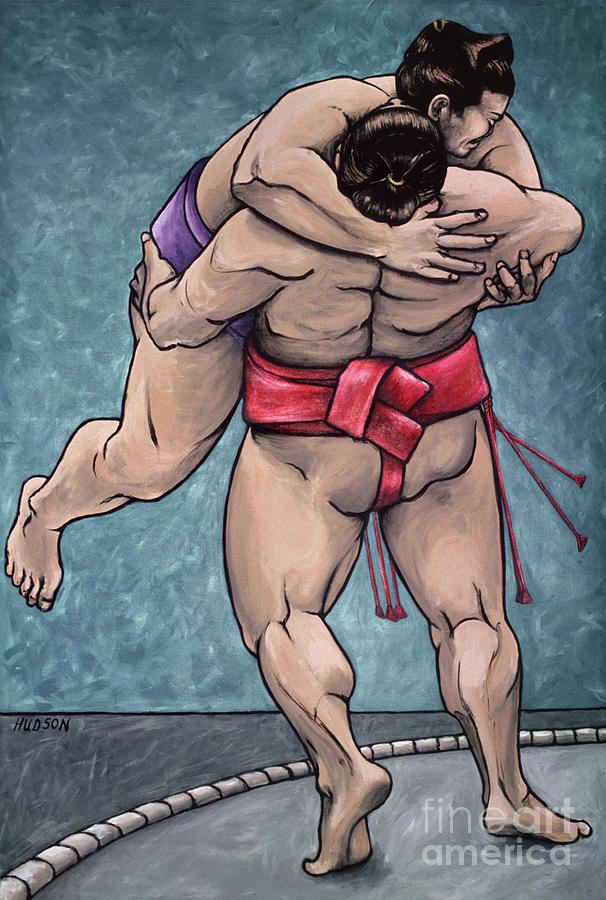 sumo wrestling painting - Sumo Wrestlers II by Sharon Hudson