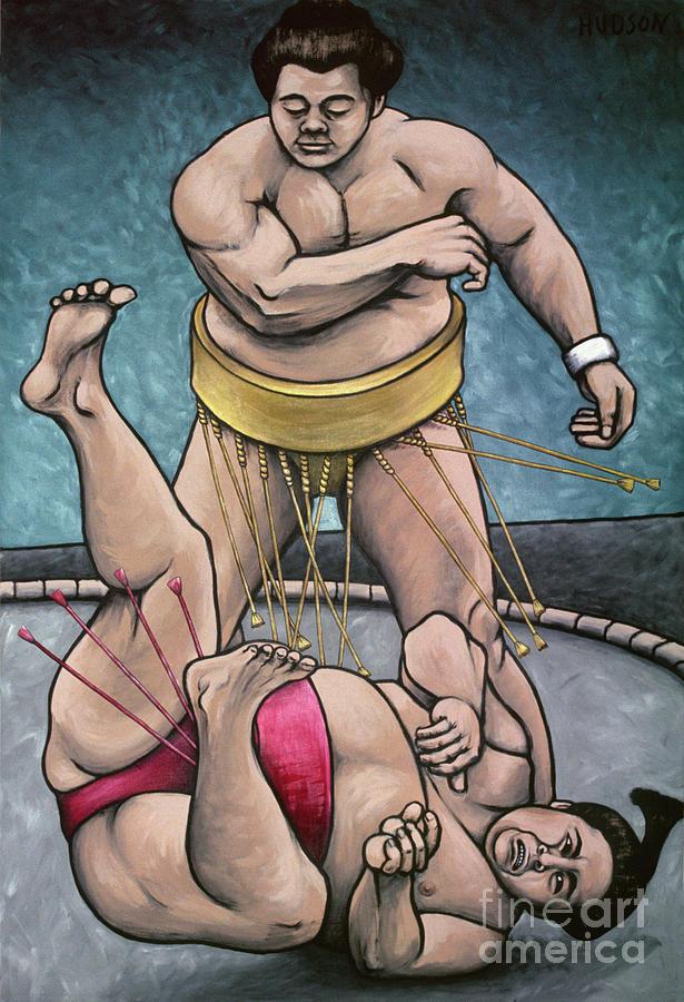 sumo wrestling painting - Sumo Wrestlers III by Sharon Hudson