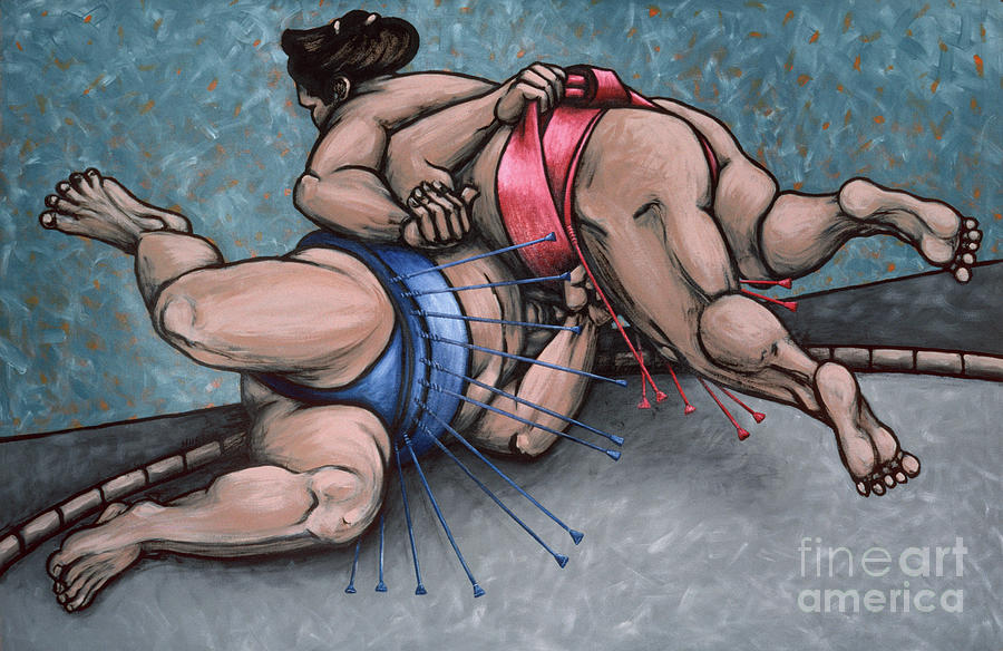 sumo wrestling painting - Sumo Wrestlers IV by Sharon Hudson