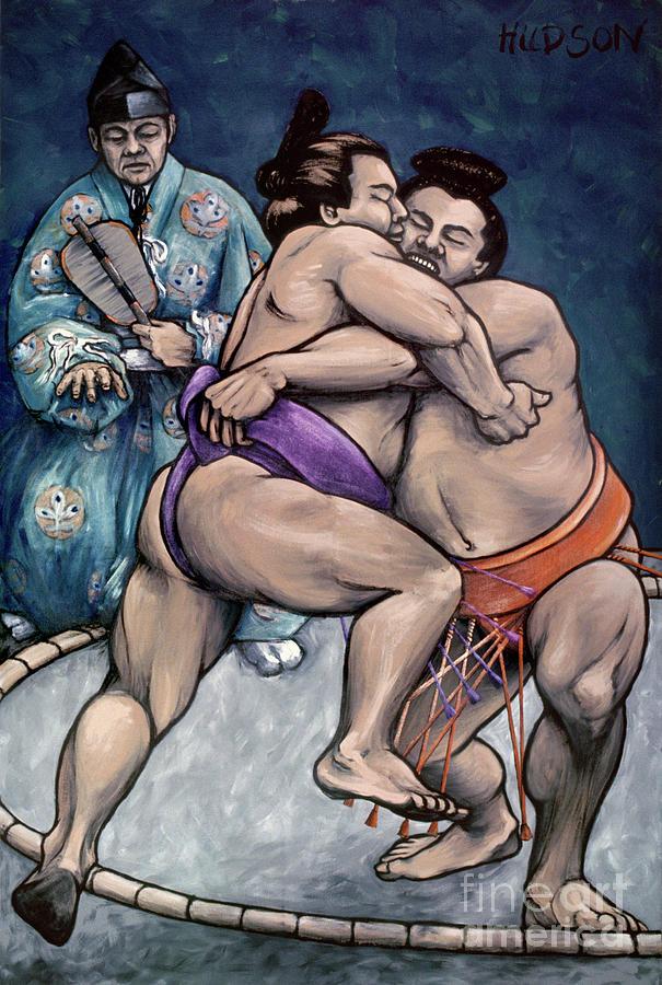 sumo wrestling painting - Sumo Wrestlers V by Sharon Hudson