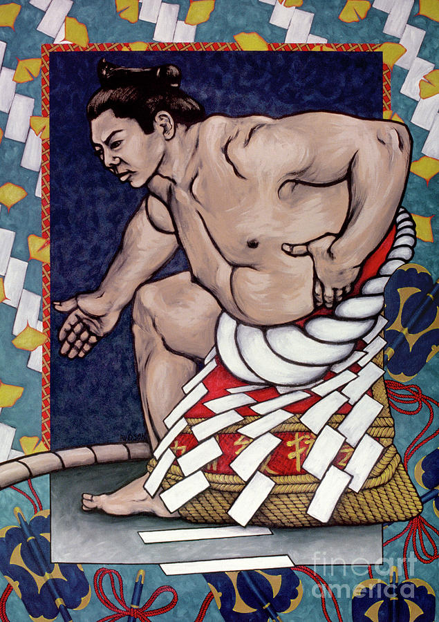 sumo wrestling painting - Sumo Wrestlers VI by Sharon Hudson