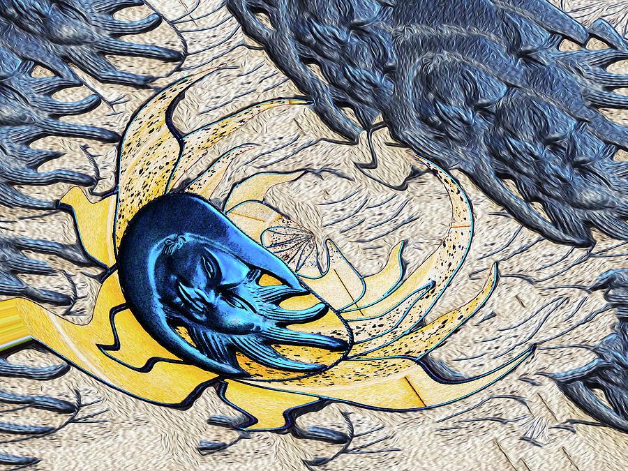 Sun Digital Art - Sun and Moon 4d by Bruce IORIO