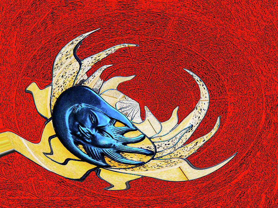 Sun Digital Art - Sun And Moon On Red 2 by Bruce IORIO