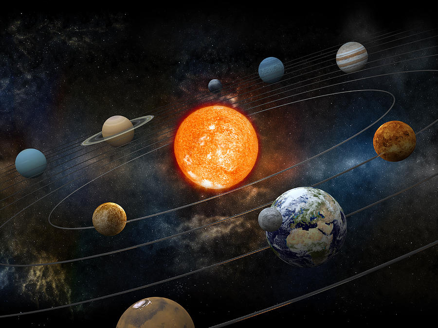 Sun And Nine Planets Orbiting Photograph by Adventtr