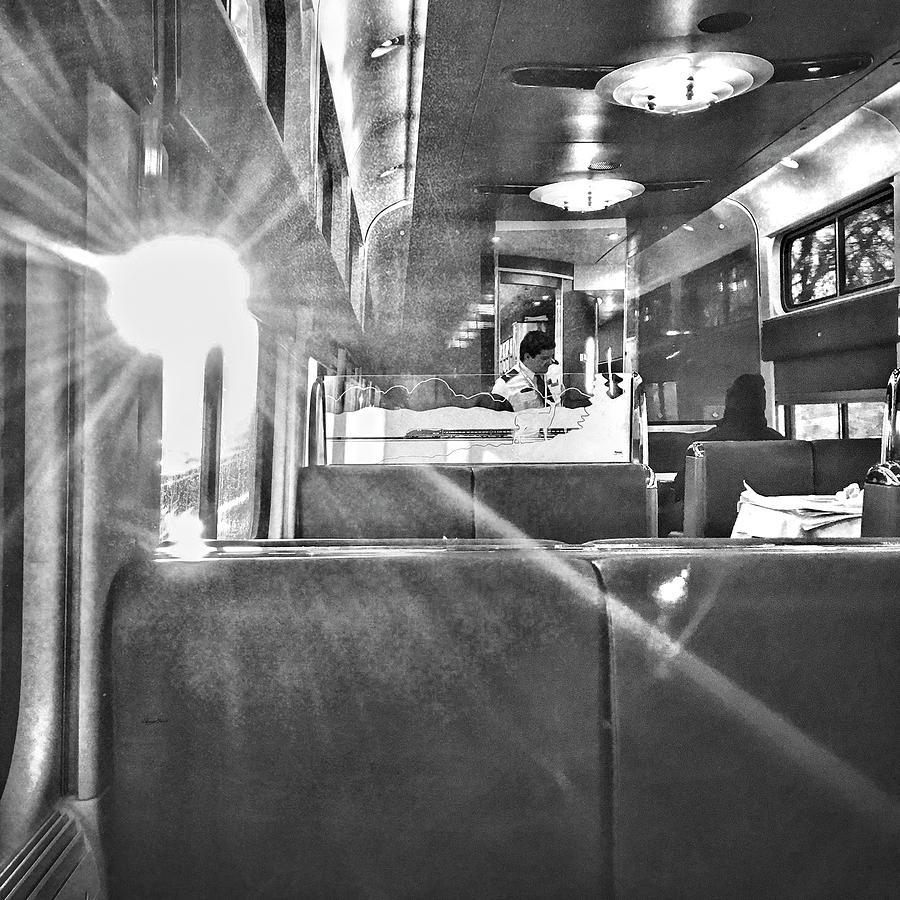 Sun Flare on Train by Sharon Popek