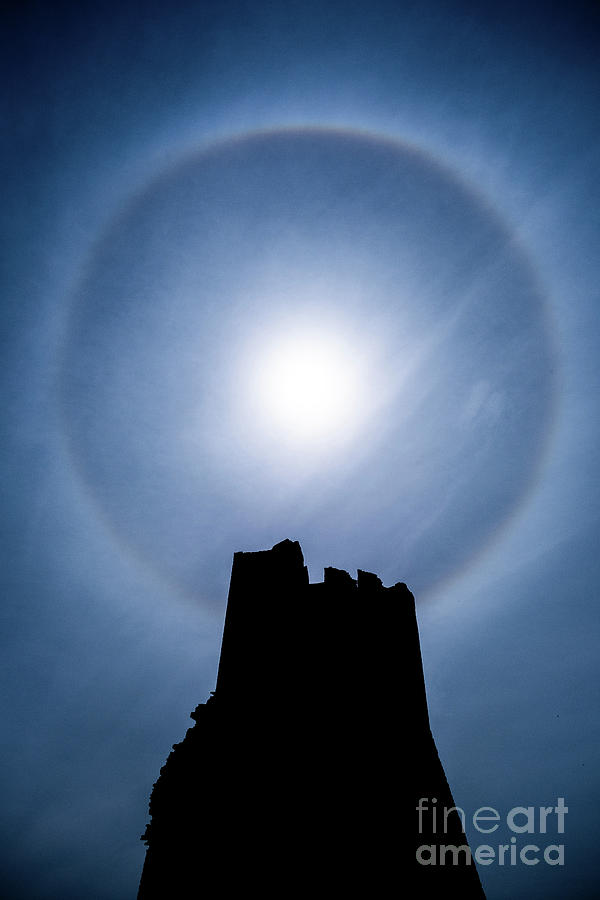 Sun Halo over Aberystwyth Castle Tower by Keith Morris