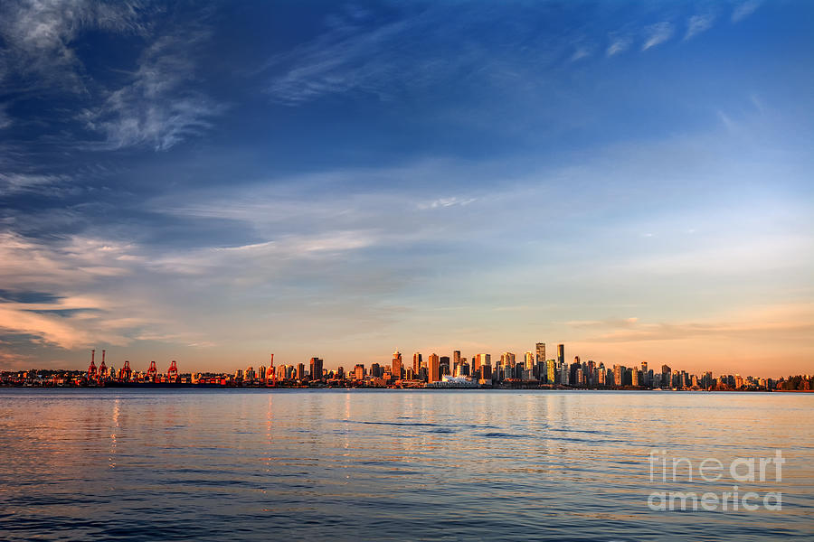 Francisco Photograph - Sun Painting The City Skyline Gold by West Coast Scapes