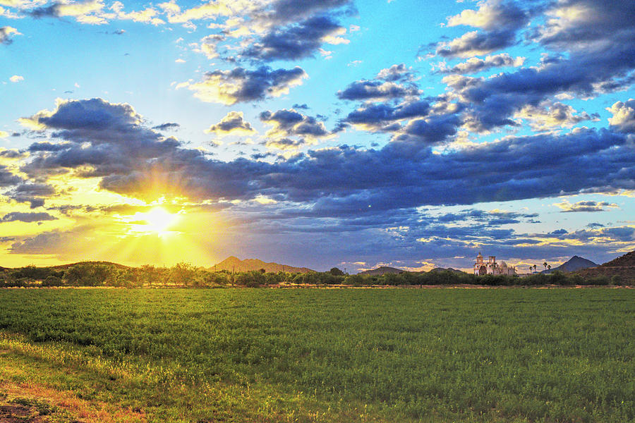 Sun Rays and San Xavier Mission by Chance Kafka
