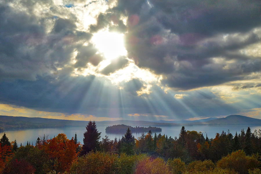 Sun Rays Over Rangeley Lake by Russ Considine