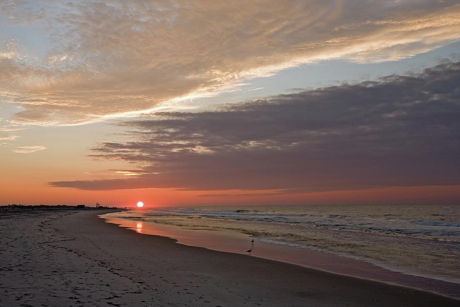 Sun Rise At Jones Beach, Ny Photograph by Tongshan