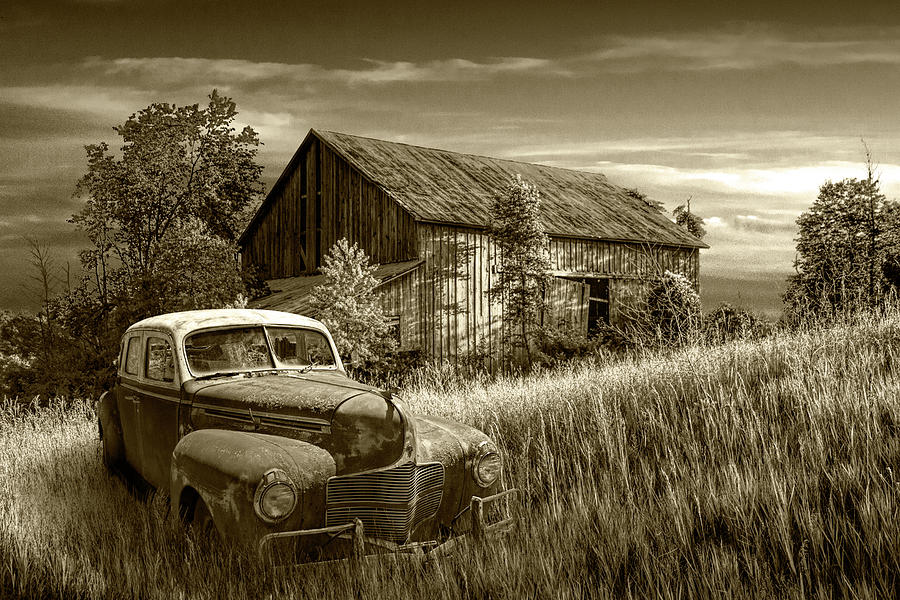 Sun sets on the past with only memories left in Sepia Tone. by Randall Nyhof