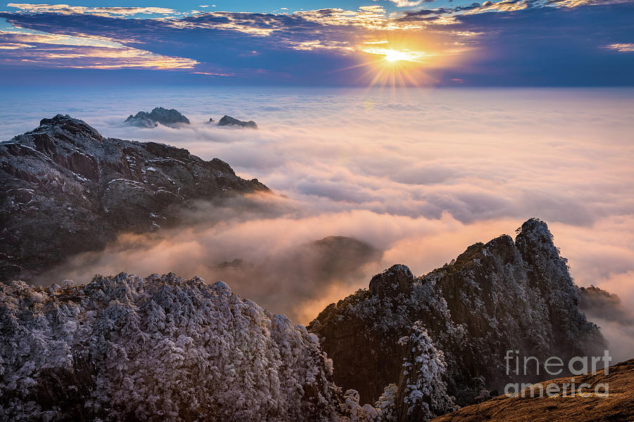 Anhui Photograph - Sun Setting On Huangshan by Inge Johnsson