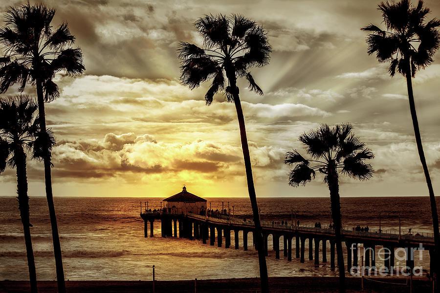 Sun Setting On Pier   by Jerry Cowart