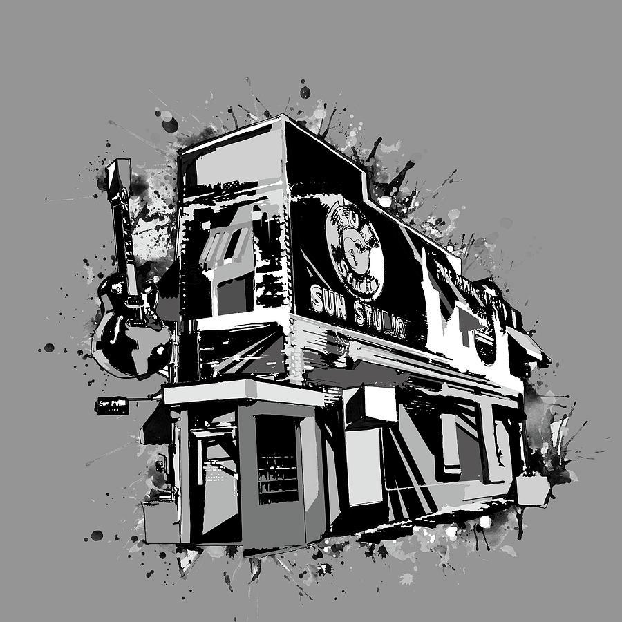 Sun Studio Digital Art - Sun Studio Memphis Black And White by Bekim M