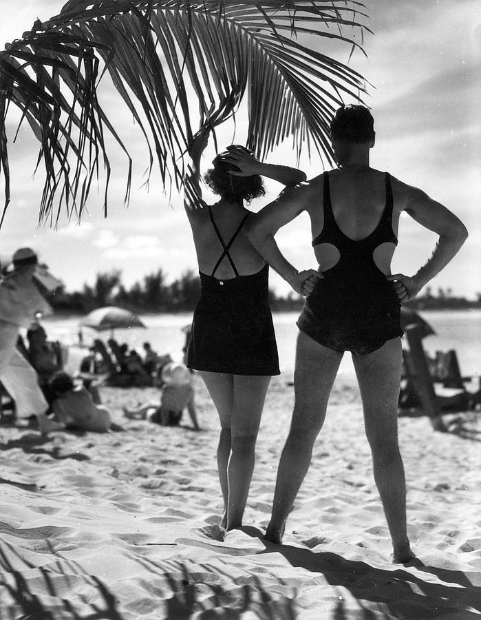Sunbathing, Bermuda Photograph by The New York Historical Society