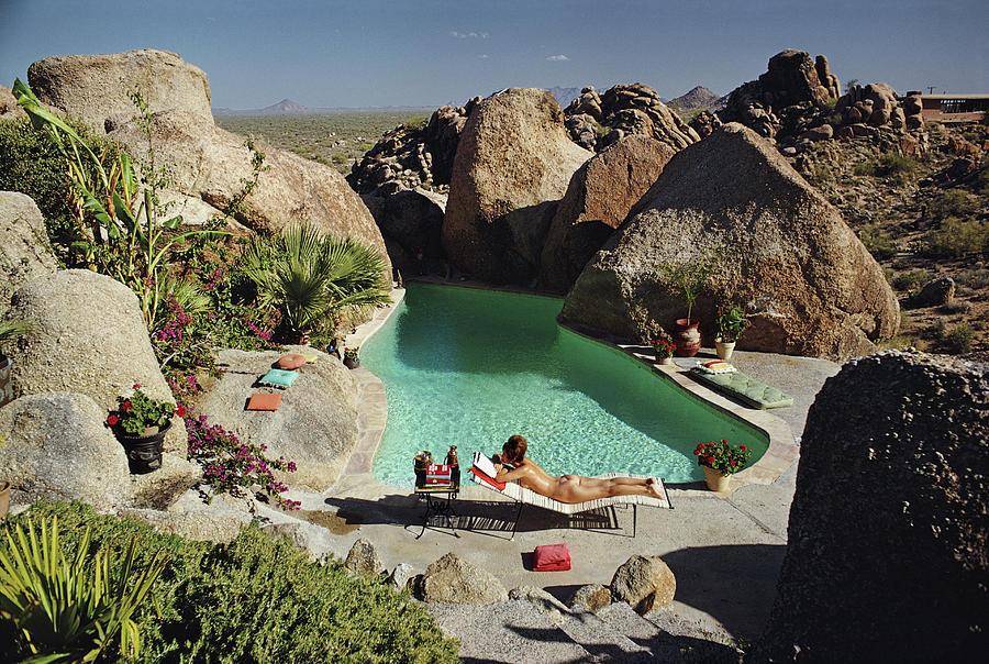 People Photograph - Sunbathing In Arizona by Slim Aarons