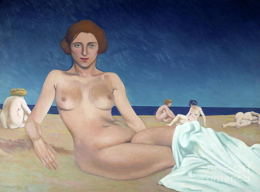 Sand Painting - Sunbathing On The Beach  by Felix Vallotton