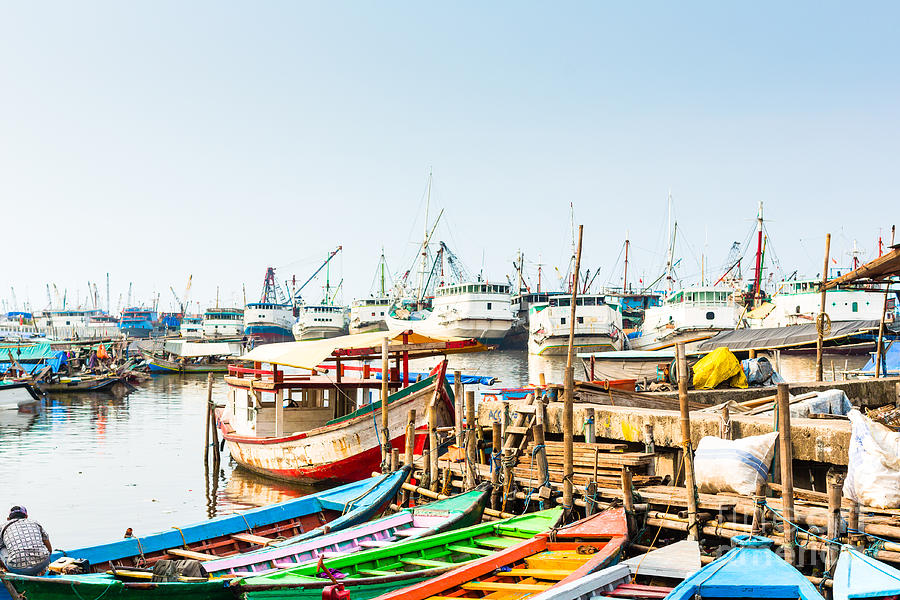 Harbour Photograph - Sunda Kelapa Old Harbour  With Fishing by Kzenon