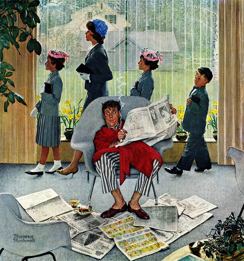 Church Drawing - Sunday Morning by Norman Rockwell